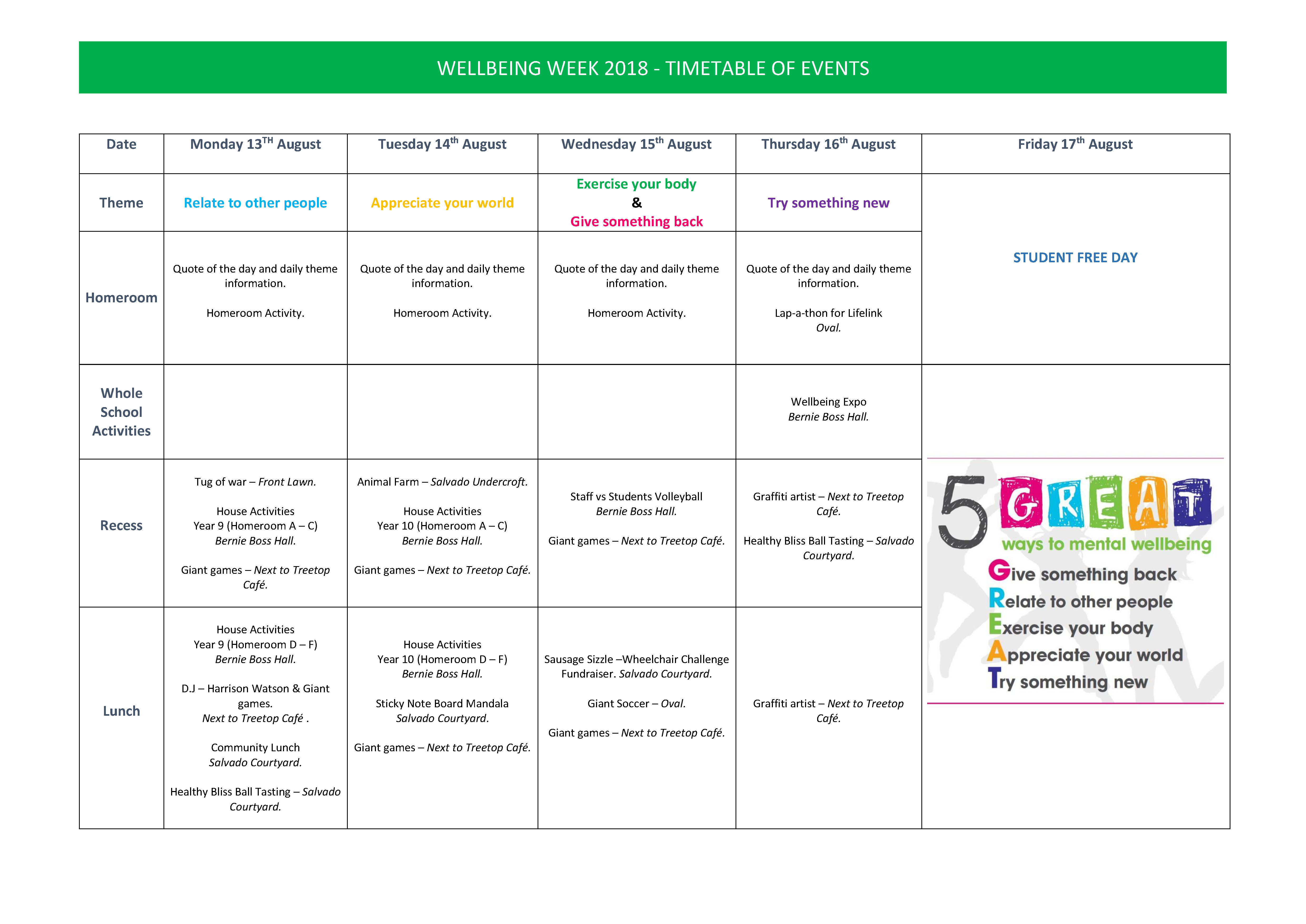 Timetable of Events Wellbeing Week 2018